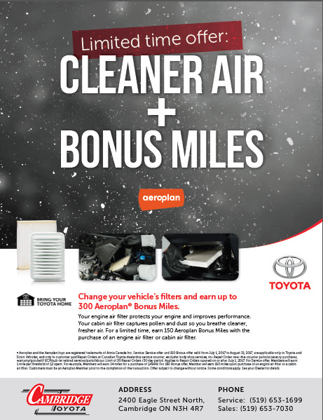 Parts and Service Air Miles